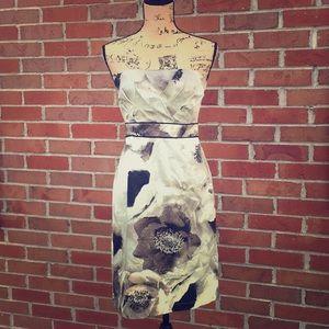 NY&Co Strapless Gray & Black Floral Print Dress